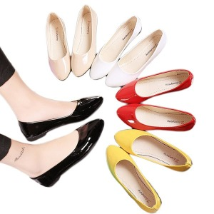 여성 에나멜 스틸레토 플랫 슈즈 구두 신발 CZ-002