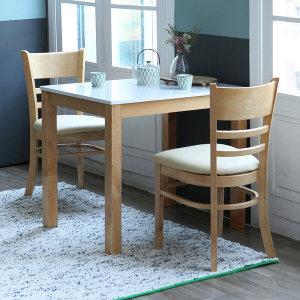 하이그로시 2인용 식탁 세트(의자포함) 캘빈