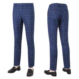 남성 캐주얼 체크 스판 슬랙스 팬츠 LO-SLA-715-블루/ 파파브로