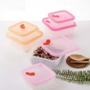 정사각 실리콘 전자레인지용기 250ml 냉동밥보관용기