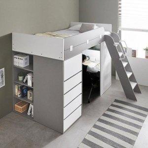 하우스 수납서랍장 2층 벙커침대 매트포함 - 메이플