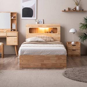 포텐 LED 4단 수납 원목 침대(양모 라텍스 7존-SS)