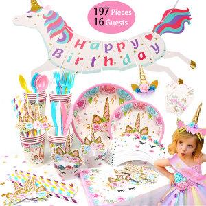 유니콘 생일파티 용품 세트 생일파티 꾸미기 핑크