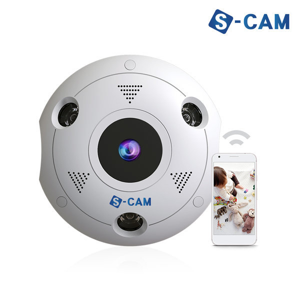 웹캠 홈캠 360도 IP 카메라 가정 회사용 CCTV S-CAM360