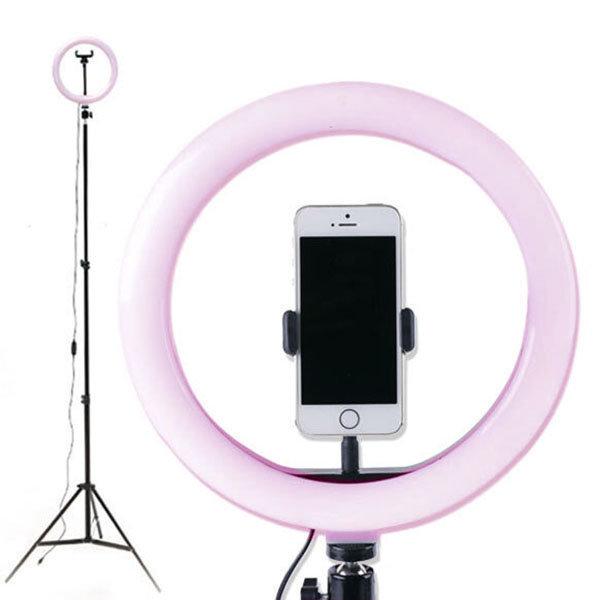 1인 방송장비 LED 링미디어 (개인방송조명) (핑크)