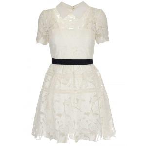 여성 guipure 레이스 미니 드레스 White PF