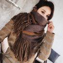 스카프 여성 겨울 양면따뜻한 숄 긴 니트 머플러 숄