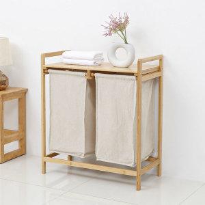 대나무 원목 햄퍼 2단 빨래 세탁 바구니 분리수거함