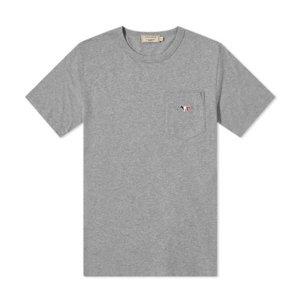 남성 트리컬러 폭스 패치 반팔 티셔츠 FM00120KJ0010_GR/ 메종키츠네