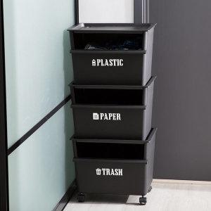 가정용 재활용 클린업 분리수거함 블랙 3p
