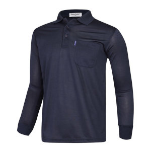 남성 간절기 캐주얼 기능성 긴팔 카라넥 티셔츠 LM-KAA-4801-1-네이비/ 파파브로