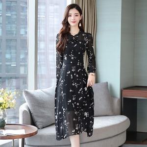 쉬폰원피스 꽃무늬 쉬폰 원피스 가을옷 2020년정품