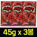 새콤짱 딸기맛 45g x 3봉/새콤달콤/아이셔/사탕/캔디