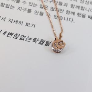 명품 스타일 GG 큐빅 여자 친구 써지컬 스틸 목걸이