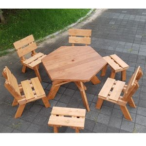 이베스타 헥사or원형 원목야외테이블/의자별매