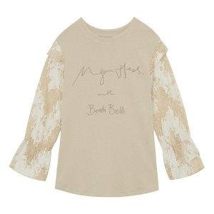 (백화점SAY)배색 레이스 커프스 티셔츠 (BYIBI283