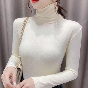 여성 가을 겨울 티셔츠 티 옷 의류 폴라티 긴팔 여자