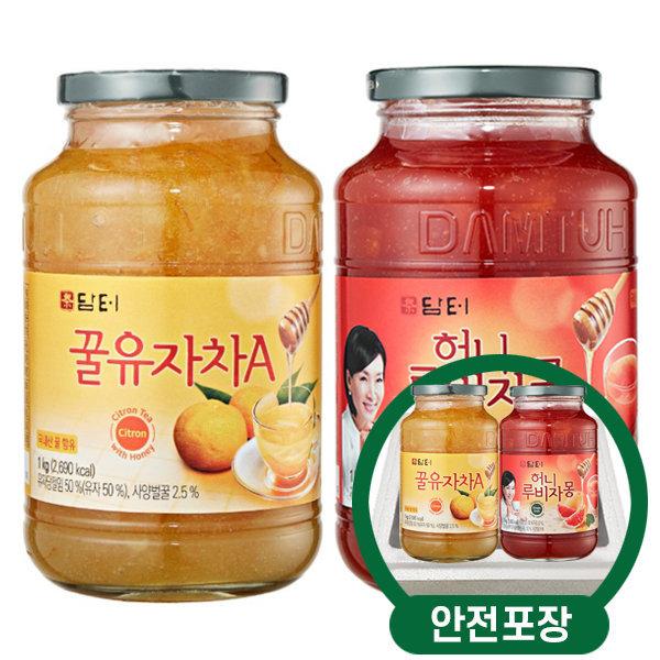 담터 꿀유자차A 1kg + 허니루비자몽 1kg /안전포장
