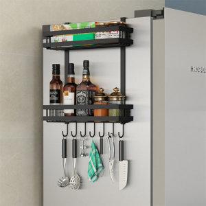 오즈리빙 냉장고 벽걸이 선반 주방 거치대 2단 블랙