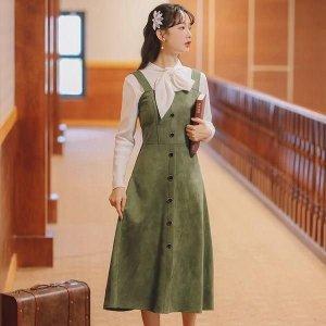 여자 멜빵 원피스 치마 스커트 가을 데일리 pcr94