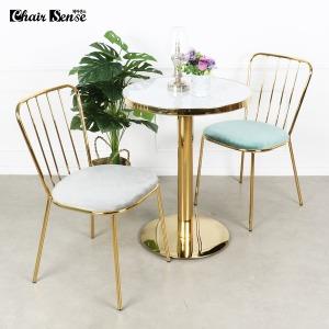 체어센스 골드원형 골드라인 카페 식당 테이블