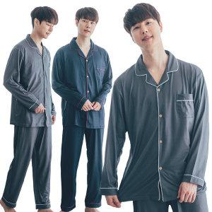 DOSSY 남성 피치기모 무지 셔츠 마약잠옷/파자마세트