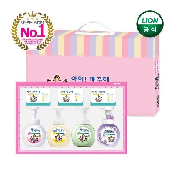손세정제 항균 선물세트 x1개/250ml 본품 4개+비누 3개