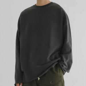 워싱 쭈리 면 기본티 라운드넥 긴팔 티셔츠 남자 커플