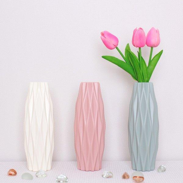 깨지지않는 로맨틱 패턴디자인 플라스틱 화병 (핑크)