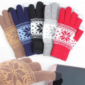 눈꽃 니트장갑 겨울 패션 등산 스마트터치 방한장갑