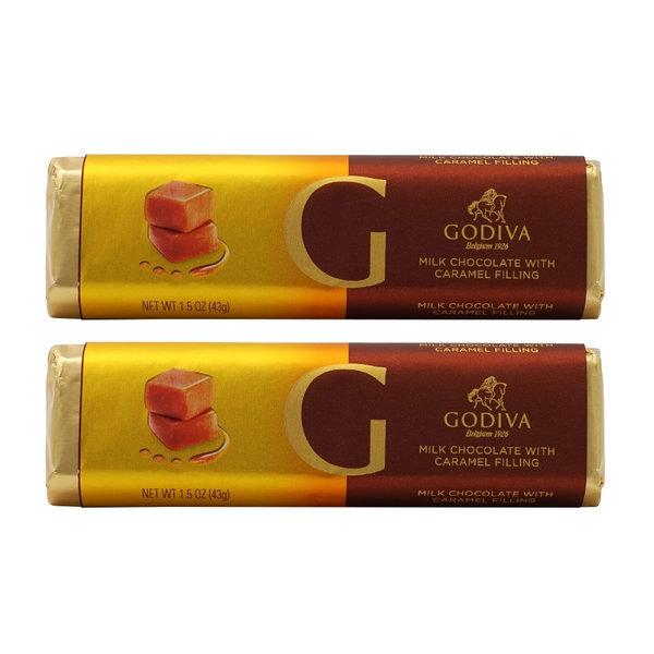 2개 GODIVA 밀크 초콜릿 위드 크리미 카라멜 필링 초코바 43 g