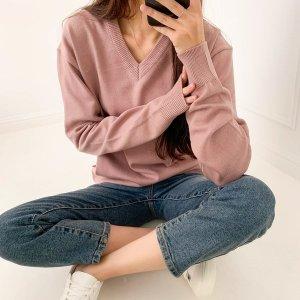 캐시 브이넥 니트 빅사이즈 남녀공용