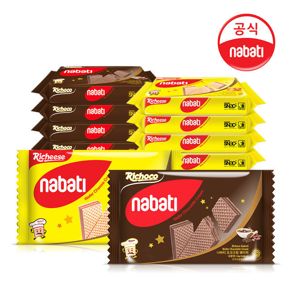 나바티 크림 웨이퍼 58g x 12개 (치즈6+초코6)