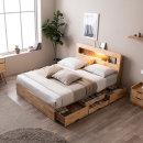 포텐 LED 4단 수납 원목 침대(매트제외-퀸)
