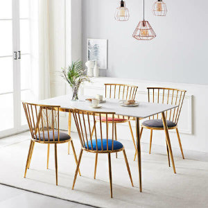 (현대Hmall)나무뜰 몬스 통세라믹 골드 4인 식탁 세트_아쿠아텍스 의자형(의자4) KEF031C