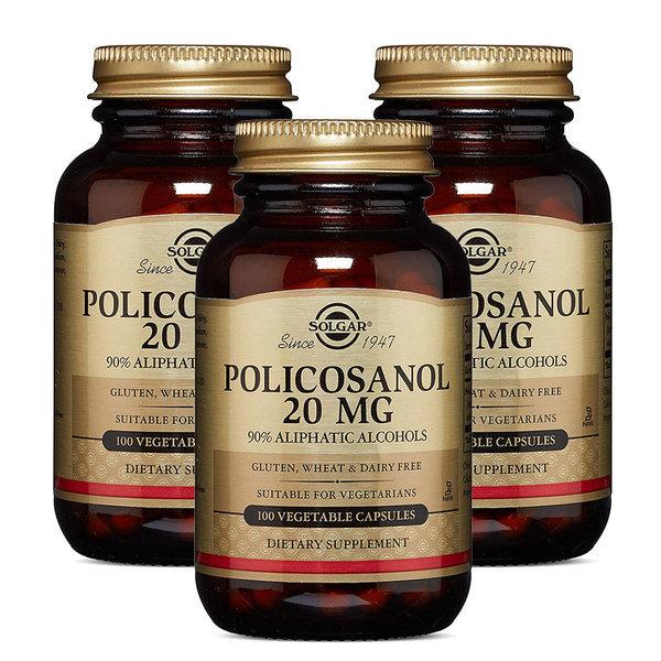 3개 Solgar 폴리코사놀 20 mg 100 베지 캡슐