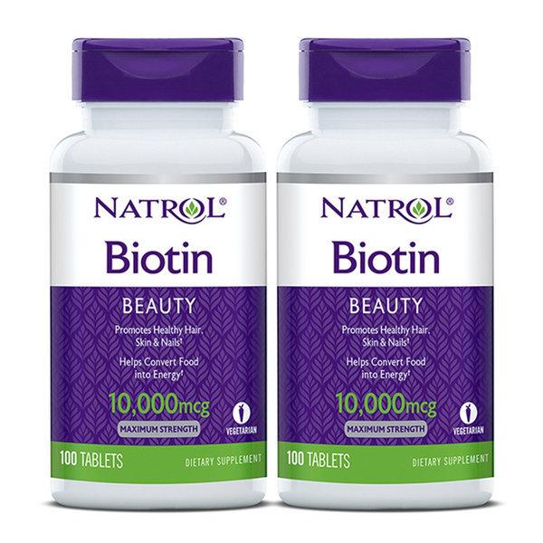 2개 NATROL 비오틴 Biotin 바이오틴 10000 mcg 100 타블렛