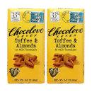 2개 CHOCOLOVE 카카오 33% 토피 앤 아몬드 밀크 초콜릿 초코바 90 g