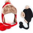 귀달이 꽈배기 니트 방한모자 방울 털모자 겨울모자