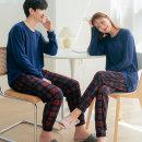 남여 포근한 피치기모 커플 체크 잠옷 세트 홈웨어3종