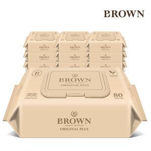 브라운 아기물티슈 오리지널 플러스 80매 캡형 10팩