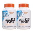 2개 Doctors BEST 비타민 D3 5000 IU 비타민디 360 소프트젤 빠른직구