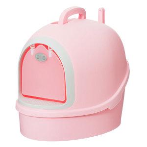 대형 고양이화장실 후드형 사막화방지 배변 핑크