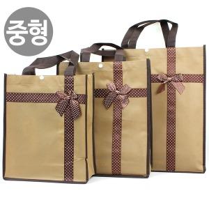 리본 부직포가방(중) 보조 신발 선물 학원가방 쇼핑백