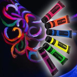 6색 무독성 네온 UV 발광 튜브 페인트 물감