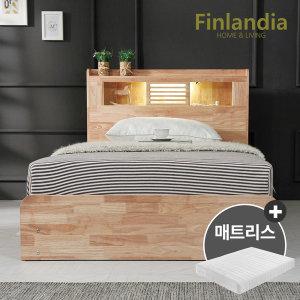 핀란디아 네이쳐 수납LED 침대 SS+40T라텍스독립매트