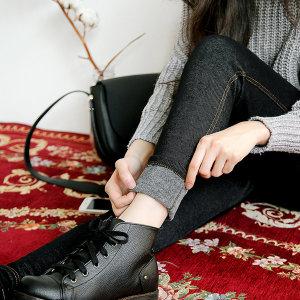 빅사이즈 밍크퍼 데님레깅스 청 융털 쫄바지 밴딩
