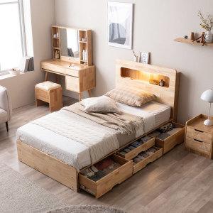포텐 LED 4단 수납 원목 침대(매트제외-슈퍼싱글)