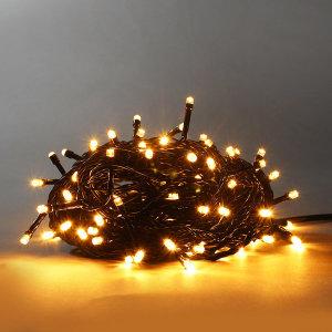 LED 100구 10M 트리전구 검정선 연결- 전구색