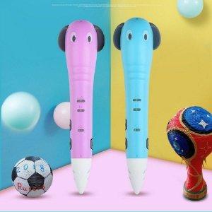 코끼리 3D펜 USB충전식 무선3D프린터펜 PCL저온 블루